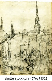 The view from the window of the Old town of Riga. Pencil drawing on old paper, illustration.