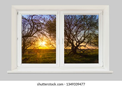 View from the window on a beautiful spring landscape with trees at sunset