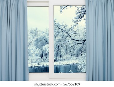 view from the window of a winter forest