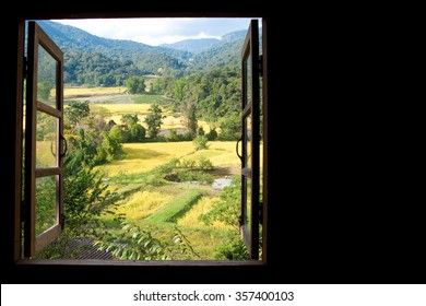 view from window at a wonderful rice terraces with space for your text in Chiangmai, Thailand , Indochina
