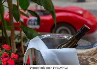 View of wine bucket and vintage car rally Vorderstadt, Kitzbuhel, Austrian Tyrol Region, Austria, Europe 1-5-2919