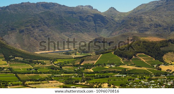 View of wine farms in Western Cape, South Africa