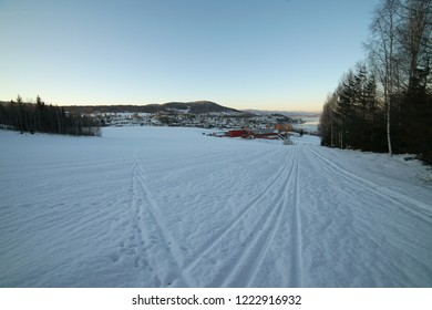 View of winter Drammen city suburbs landscape.