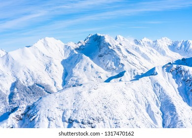 View of winter landscape with snow covered Alps in Seefeld in the Austrian state of Tyrol. Winter in Austria