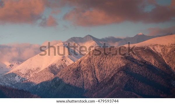 View of the winter landscape of the Western Tatras at sunset - Slovak Republic.