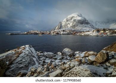 A view of winter in Lofoten islands in Norway