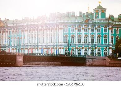 View of Winter Palace or Zimnij dvorets in Saint Petersburg on River Neva, Russia - Shutterstock ID 1706736103