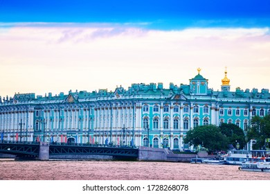 View of Winter Palace or Zimnij dvorets and Admiralty Embankment, Saint Petersburg on River Neva, Russia - Shutterstock ID 1728268078