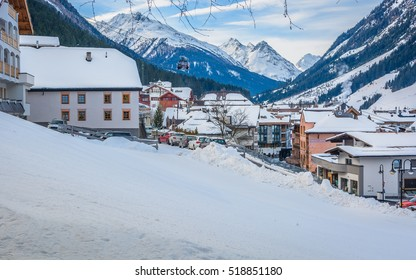 View at winter resort in Alps, Ischgl famous skii resort, Austria Europe. / Ischgl village center aerial. / Selective focus.