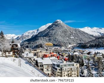 View  of  winter resort Davos from panoramic way.