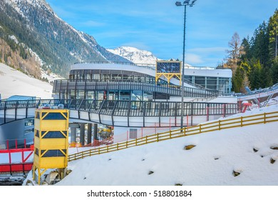 View at winter resort and skii station in Alps, Ischgl famous travel place, Austria Europe. / Ischgl skii center station. / Selective focus.
