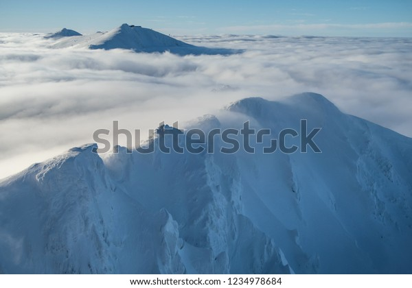 View of the winter ridge mountains of the Low Tatras, Slovak Republic