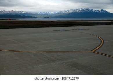 View from within an airplane of the runway of the airport of Ushuaia, Patagonia, Argentina.