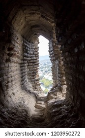 View from withing a loophole of one of the towers of Narikala fortress, Tbilisi, Georgia