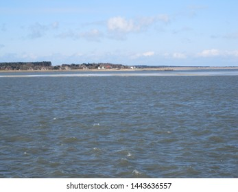 View from Wittdun to Steenodde on the island of Amrum (Schleswig-Holstein, Germany), blue sky with clouds