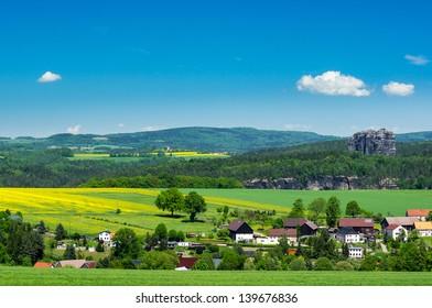View from Wolfenberg to Schramstein and Elbe river, Saxon Switzerland