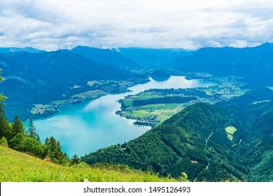View of Wolfgangsee lake and surrounding mountains from Zwolferhorn mountain in Salzkammergut region, Austria