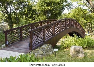 view of wooden bridge in green park