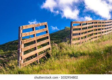 View at wooden fence on the mountain