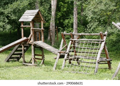 View of a wooden playground in the forest