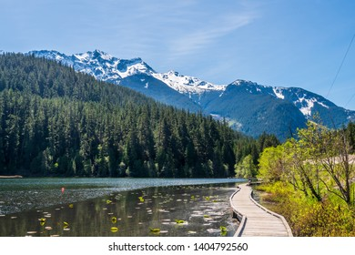 View at Wooden Trail in Park and Lake. Vancouver, Canada.