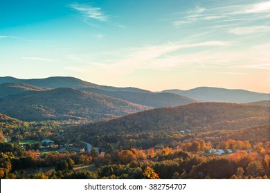View of Woodstock Vermont in the peak of fall foliage season