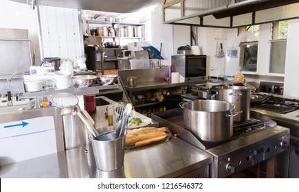 View Of Worktops And Kitchen Equipment In Empty Professional Restaurant  Kitchen