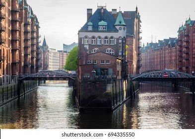 View of the World Famous Warehouse District in Hamburg under a Warm Evening Sun