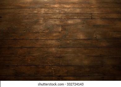 View of Worn Wood Flooring