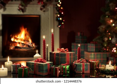view of wrapped gifts and fireplace with christmas tree on the back