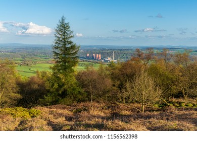 View from the Wrekin, near Telford, Shropshire, England, UK - looking southeast towards the decommissioned Ironbridge Power Station
