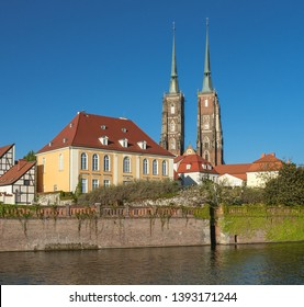 View of Wroclaw Cathedral of St. John the Baptist on Tumski Island as seen from Wlostovica boulevard on Sand Island, Wroclaw, Lower Silesia, Poland