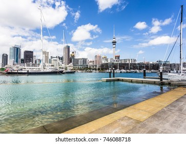 A view from the Wynyard district to the Viaduct Marina in Auckland with the financial district in the background in  New Zealand largest city.