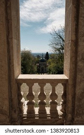view of the XIV chapel along the path of the historic pilgrimage route from Sacred Mount or Sacro Monte of Varese, Italy - Lombardy
