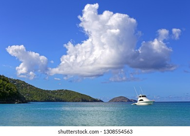 View of yacht in Caribbean sea against Virgin Islands.