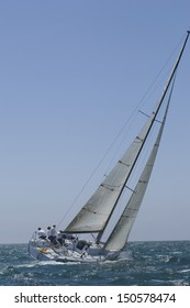 View of a yacht compete in team sailing event