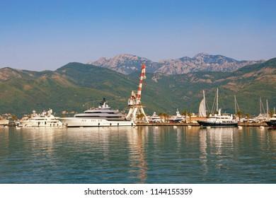 View of yacht marina of Porto Montenegro. Montenegro, Bay of Kotor, Adriatic Sea, Tivat city