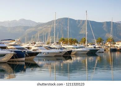 View of yacht marina of Porto Montenegro .  Montenegro, Adriatic Sea, Bay of Kotor, Tivat city