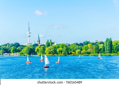 view of a yachting pupils taking leassons on the aussenalster lake in Hamburg, Germany.