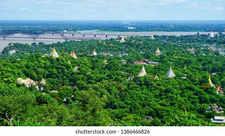 View of Yadanabon Bridge and Inwa Bridge spans the Irrawaddy River (Ayeyarwady River)  from Sagaing Hill