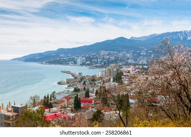 view of Yalta city and Black Sea coastline from Polikurovsky Hill, Crimea. Russia