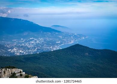 View of Yalta from Mount Ai-Petri. Crimea.