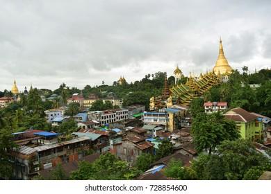 View of Yangon in rainy season, Myanmar