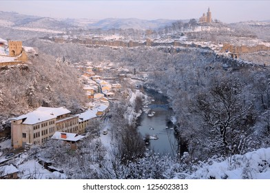 View of the Yantra river and medieval Tsarevets fortress in the background in the winter