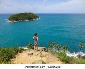 View of Yanui Beach and Koh Kaeo Noi on Phuket island, Andaman Sea in South Thailand.