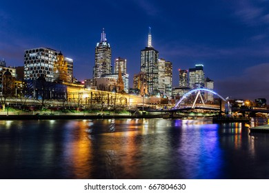 View of Yarra river and skyscrapers at Melbourne at night