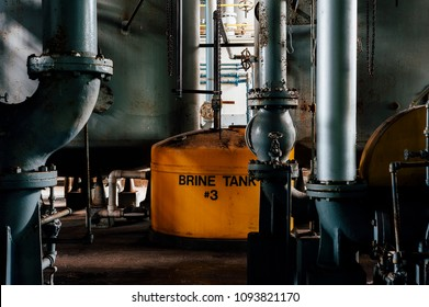 A view of a yellow brine tank inside the coal power plant at the long abandoned Indiana Army Ammunition Plant, which produced black powder and mostly closed after the Vietnam War.