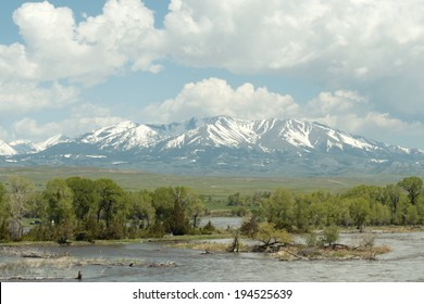 View of the Yellowstone River and the Crazy Mountains near Livingston, Montana.