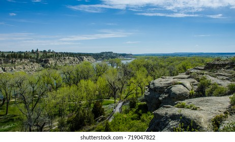 The view of the Yellowstone River in Montana from Pompey's Pillar on the Lewis and Clark Historic Trail where Clark carved his name onto the rock face of the sandstone outcropping on July 25, 1806.