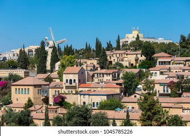 View of Yemin Moshe neighborhood in Jerusalem, Israel.